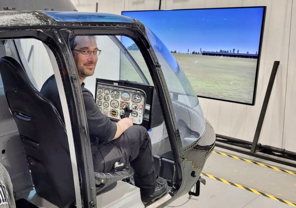Line Pilot & Flight Instructor Joe Baugniet in the Helicopters Canada simulator.