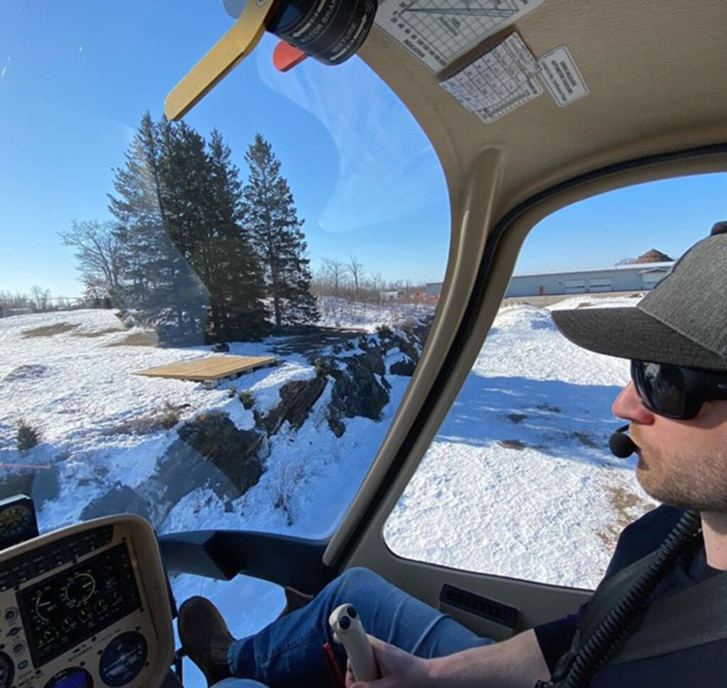 Helicopters Canada student Neal training on the Cabri.